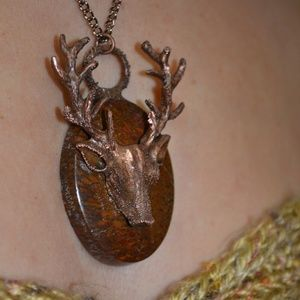 TVD Mahogany Obsidian Copper Deer Stag Necklace